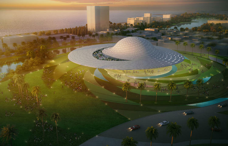 <p>Romero's design for a museum on Mazatlan features a complex saucer-like silhouette made possible through digital modeling.</p>