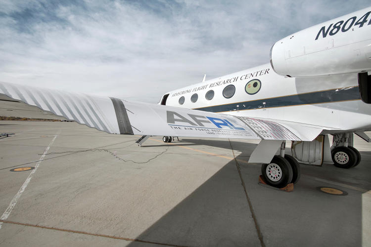 <p>The bending wing, seen here installed on an Gulfstream jet, is the product of an ERA partner company, FlexSys, which is based in Michigan. Image: NASA/Ken Ulbrich.</p>