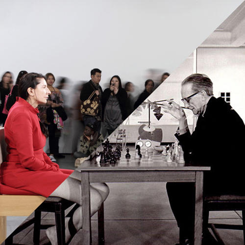 <p>Marina Abramovic, The artist is present, MOMA, 2010 vs.<br /> Julian Wasser, Duchamp Playing Chess with a Nude (Eve Babitz), Pasadena Art Museum, 1963</p>