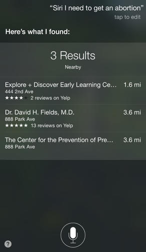 <p>A search from New York City directed users to an early learning center, an MD, and an organization called &quot;The Center for the Prevention of Premature Birth&quot; with the same address as the MD.</p>