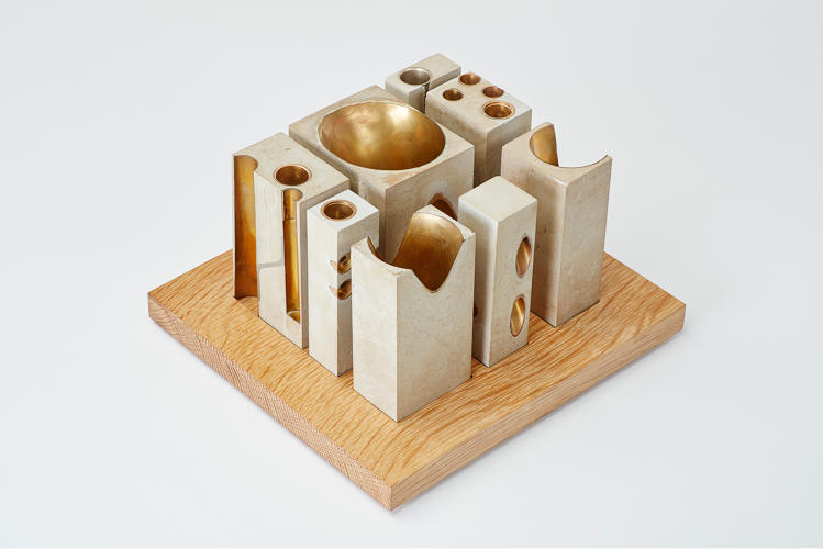 <p>Allied Works set salvaged brass instruments into modeling concrete to study forms for the National Music Centre.</p>