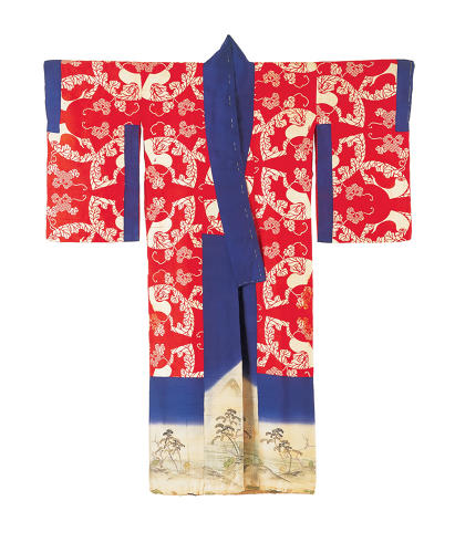 <p>Layered kimono set for a woman (kasane). Landscape with pine trees, plum, 				bamboo, cranes and thatched buildings along the shoreline.<br /> Outer kimono: broken twill silk (kawari-aya); freehand paste resist dyeing 				(yūzen), ink painting (kaki-e) and embroidery in silk and metallic threads. <br /> Meiji period, 1880–1900, 147.5 x 128.0 cm.</p>
