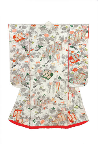 <p>Outer kimono for a young woman (uchikake). Flowers and rolled blinds. <br /> Figured satin silk (rinzu); ink painting (kaki-e), stencil imitation tie-dyeing 				(suri-hitta) and embroidery in silk and metallic threads.<br /> Edo period, 1800–50, 162.5 x 126.0 cm, KX144.</p>
