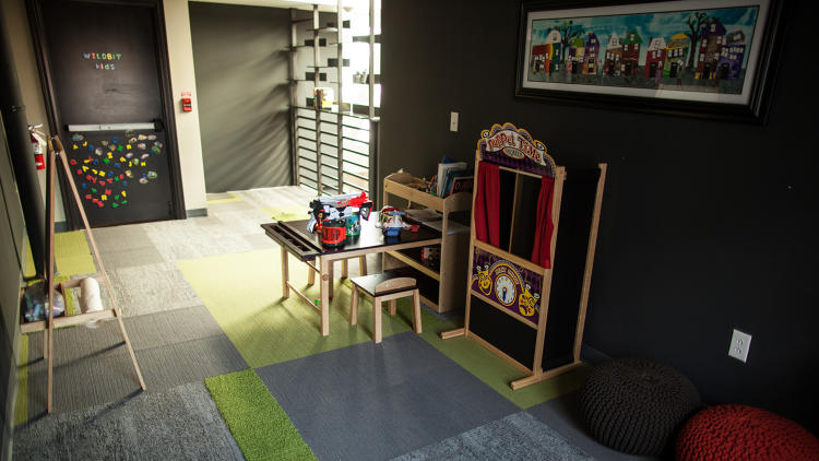 <p>The children's playroom is incorporated into the larger workspace at Wildbit's Philadephia office.</p>