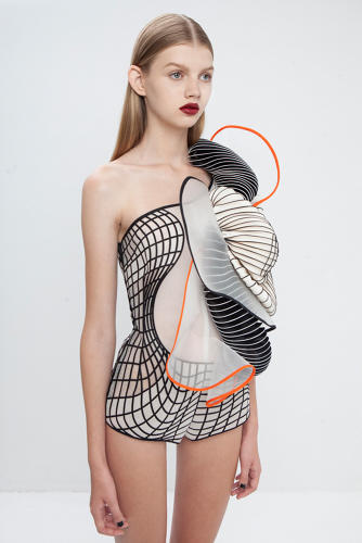 <p><em>Bodysuit from Hard Copy collection</em> (2014), designed by Noa Raviv</p>
