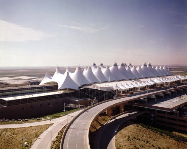 <p>The Denver Airport is still one of the most high-profile tensile structures ever built in the U.S., and one of Birdair's largest projects to date.</p>