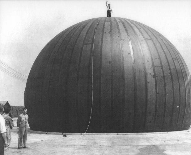 <p>Walter Bird stands atop a radome.</p>