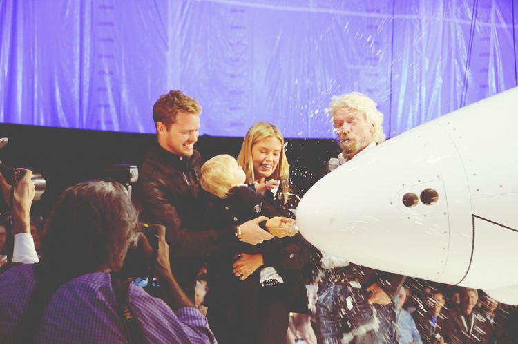 <p>For Branson, the ceremony brought together four generations of his family, including his granddaughter, who broke a bottle of milk on the ship's nose.</p>