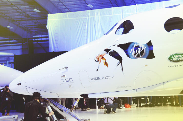 <p>The nose of the new spaceship, with the Virgin Galactic logo.</p>