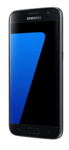 <p>Samsung Galaxy S7 in black onyx (front angle view).</p>