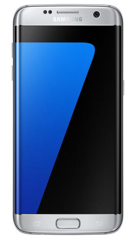 <p>Samsung Galaxy S7 edge in silver titanium (front view).</p>