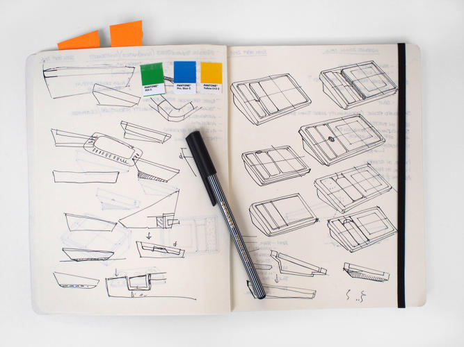 <p>The notebook of Jon Marshall, design director, Map</p>