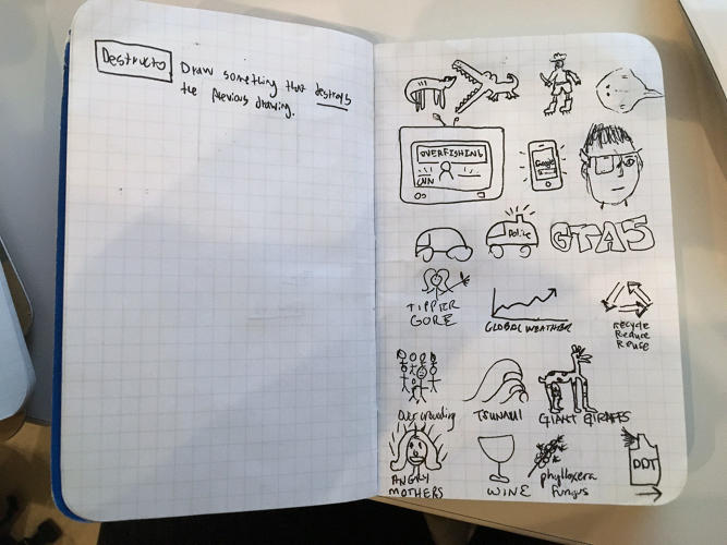 <p>The notebook of Max Temkin, designer of Cards Against Humanity</p>