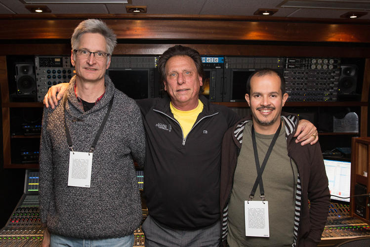 <p>Broadcast engineer Hugh Healey, lead sound mixer Paul Sandweiss, and ProTools mixer Pablo Munguia liken their jobs to a sonic feast.</p>