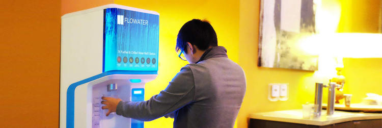 <p>FloWater's refill stations are typically used by large businesses that want to stop buying pallets of bottled water.</p>