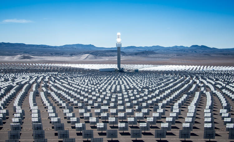 <p>Sitting in the Nevada desert, the new Crescent Dunes Solar Energy Project is covered with more than 10,000 mirrors.</p>