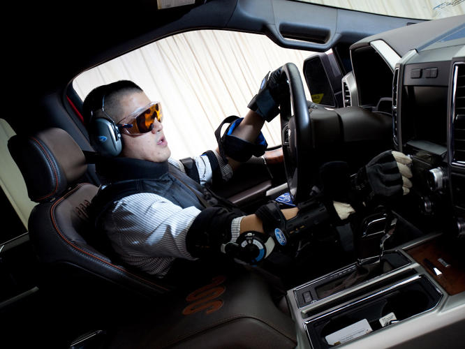 <p>The suit simulates decreased vision, hearing, and movement—making even simple tasks harder to navigate.</p>