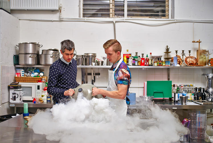 <p>Harry Parr (left) and Sam Bompas have made a name for themselves in London with their wacky flavor-based experiments.</p>
