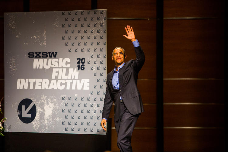 <p><strong>President Obama</strong> on stage at SXSWi 2016</p>