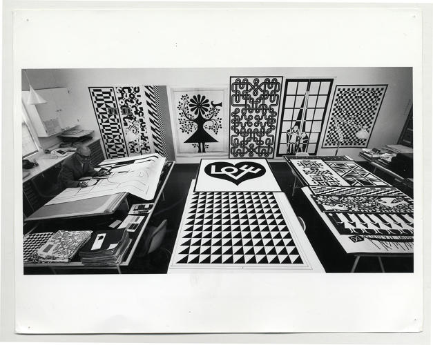 <p>Alexander Girardm, designing his Environmental Enrichment Panels, ca. 1971.</p>