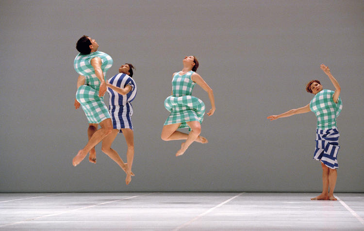 <p>The Merce Cunningham Dance Company performs <em>Scenario </em>wearing costumes designed by Rei Kawakubo. Paris Opera House, 1998.</p>