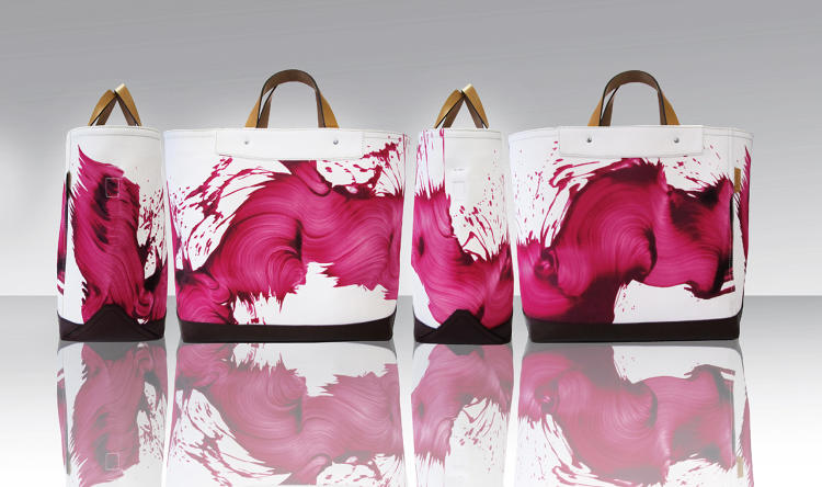 <p>Coach and James Nares 2012 limited-edition men's Wave tote collection in fuchsia</p>