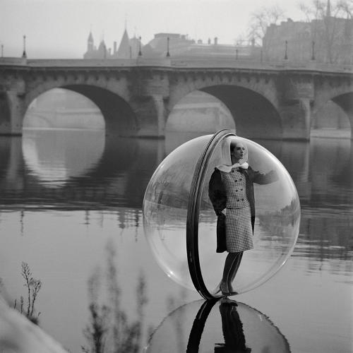 <p>Named the most iconic fashion image in the last 100 years by the Victoria and Albert Museum, Melvin Sokolsky's <em>On the Seine</em>, featuring model Simone D'Aillencourt, from his fashion editorial shoot <em>Bubble</em>, appearing in the March 1963 issue of <em>Harper's Bazaar</em></p>