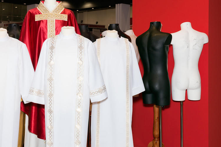 <p>Black and white (mannequins with and without liturgical clothing)</p>