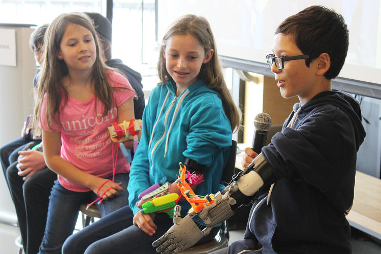 <p>After five days of brainstorming and designing, the kids had a prototype, which they unveiled in front of Autodesk and KIDmob employees.</p>