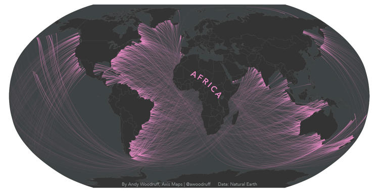 <p>This simplified map shows what's across the ocean from you.</p>