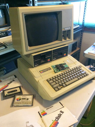 <p>An Apple IIe, complete with disk drives and monitor.</p>