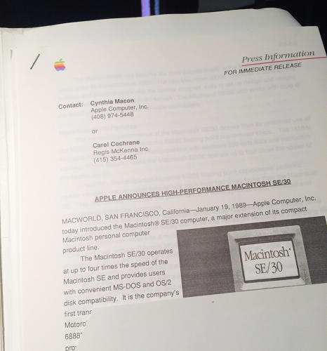 <p>The 1989 press release for Apple's Macintosh SE/30.</p>