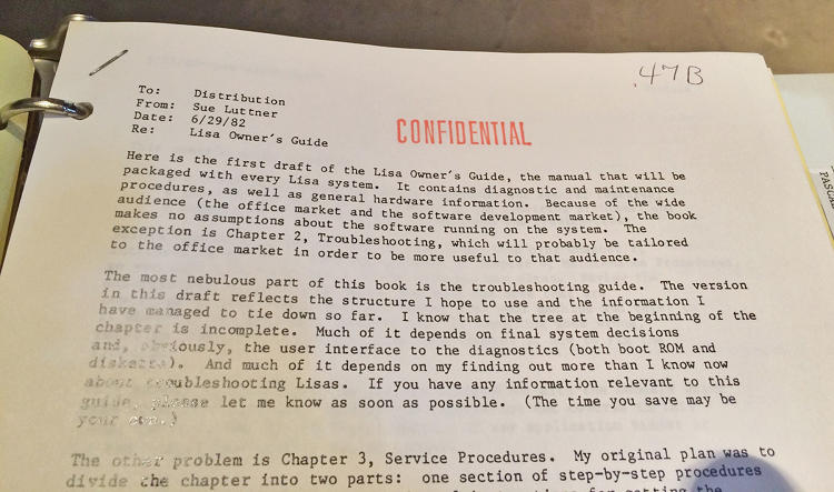 <p>A confidential letter introducing the draft of the original Lisa Owner's Guide.</p>