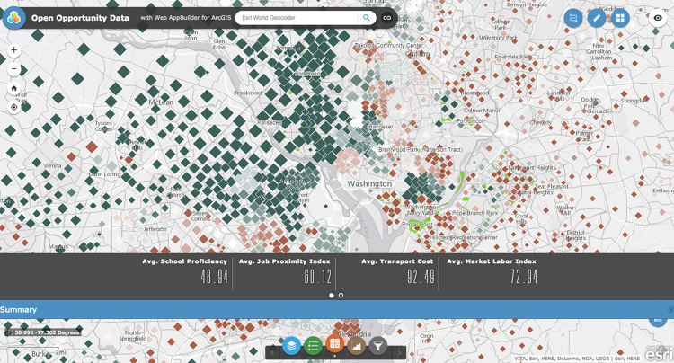 <p>The Open Opportunity Data platform plots layers of jobs, schools, transport and poverty information for any Zip code.</p>