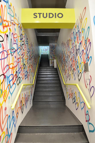 <p>Go up another flight of graffiti-tagged stairs and you arrive at Studio B, where well-known fitness instructors offer classes for a fee.</p>