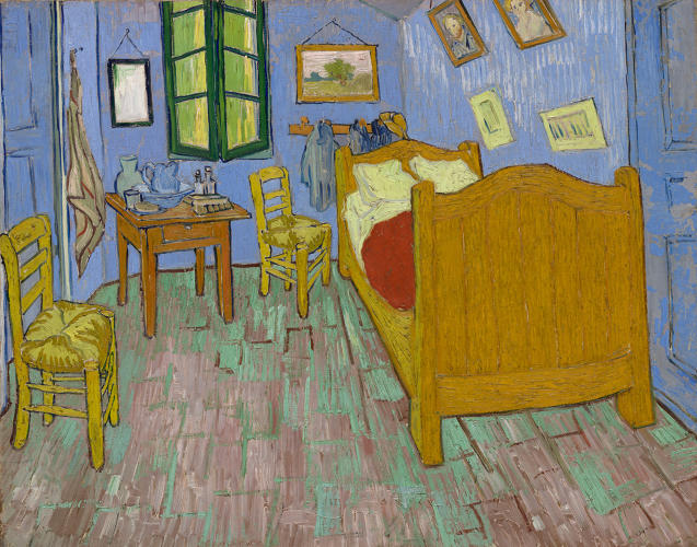 <p>Vincent van Gogh. <em>The Bedroom</em> (2). 1889. The Art Institute of Chicago, Helen Birch Bartlett Memorial Collection.</p>