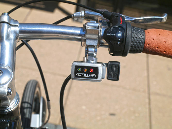 <p>The battery can last between 20-50 miles of riding, depending on how much you're pedaling.</p>