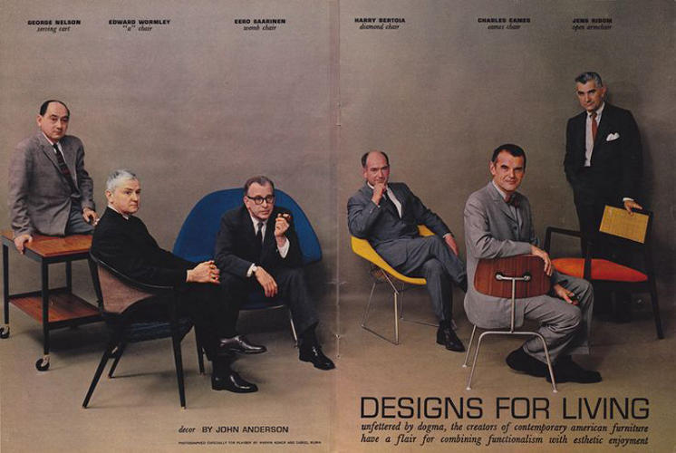 <p>In 1961, <em>Playboy</em> assembled some of the greatest designers in America for this spread. From left to right: George Nelson, Edward Wormley, Eero Saarinen, Harry Bertoia, Charles Eames, and Jens Risom.</p>