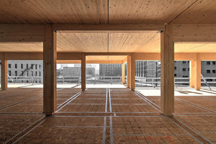 <p>The building is being built with mass timber, a new form of wood construction in the US.</p>