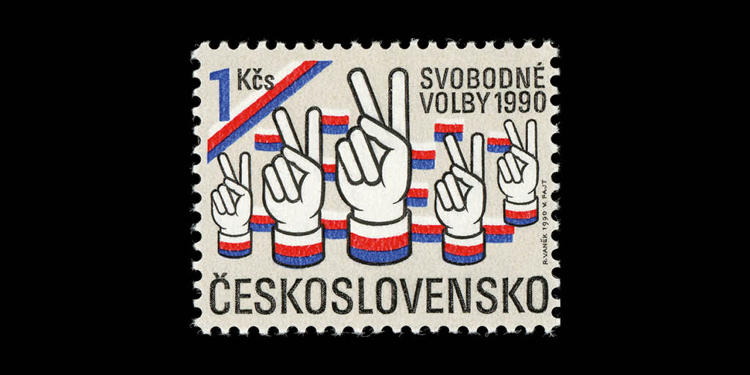 <p>Czechoslovakia, 1990; Free General Election. Designed by Rostislav Vanek.</p>