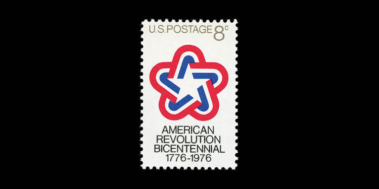 <p>United States of America, 1976 ; American Revolution Bicentennial 1776—1976. Designed by Ivan Chermayeff and Thomas Geismar.</p>