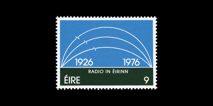 <p>Ireland,1976; 50th Anniversary of the Irish Broadcasting Service. Designed by Graham Shepherd and Al O'Donnell</p>