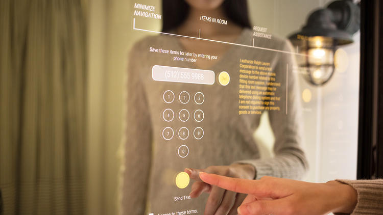 <p>Customers can plug their phone number into the mirror to have a link to their item list texted to them if they prefer to buy online.</p>