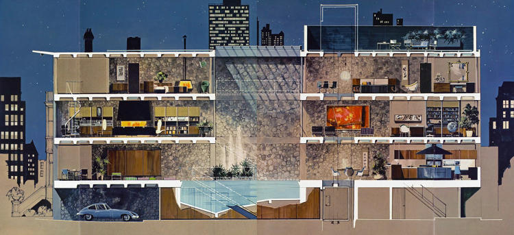 <p>Playboy townhouse 1962. Artist rendering by Humen Tam.</p>