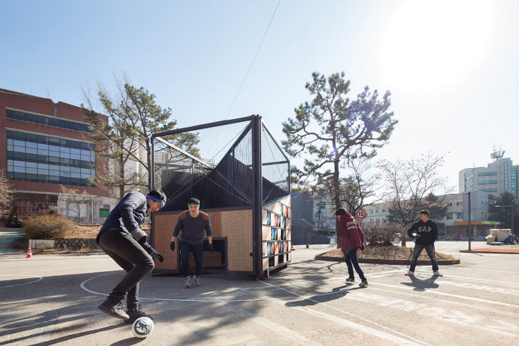 <p>This transformable, mobile playground has room for a game of mini soccer on one side and basketball on another.</p>