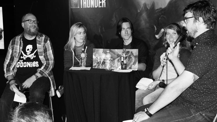 <p>(L-R): <em>Force Grey: Giant Hunters</em> cast members Brian Posehn, Ashley Johnson, Matt Mercer, Shelby Fero, and Jonah Ray</p>