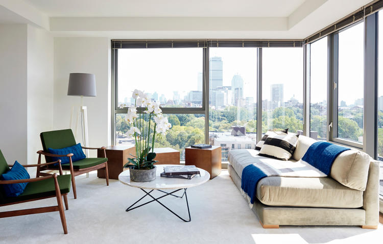 <p>ASH staged two model residences at The Viridian, in Boston, with vintage and contemporary pieces by ASH NYC, ABC Home, and James Devlin, among others.</p>