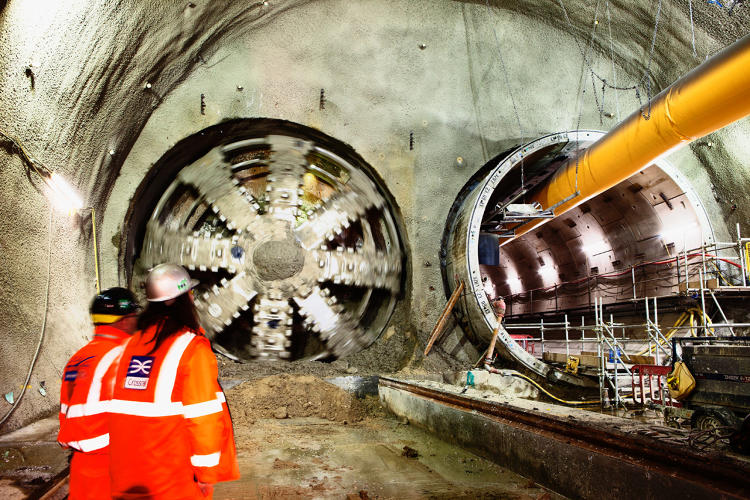 <p>Crossrail Tunnel Boring Machine Jessica breaks through into Stepney Green cavern. February 2014</p>