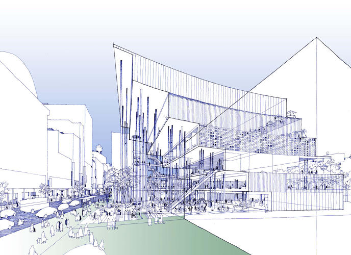 <p>Drawing for the proposal of the Kokueikan building in Tokyo (2006)</p>