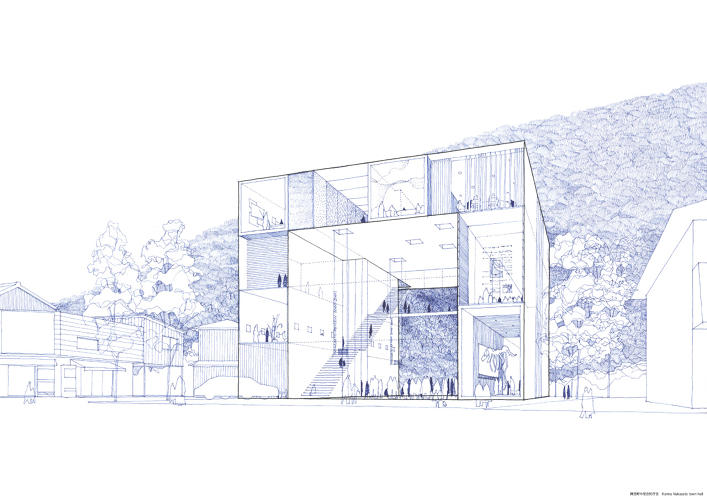 <p>Drawing for the proposal of the Nakasato Town Hall (2000)</p>